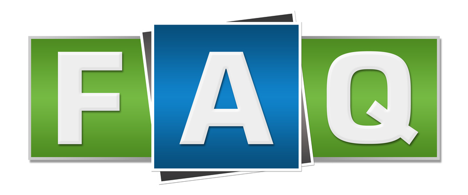 Image of FAQ alphabets written over blue green background.